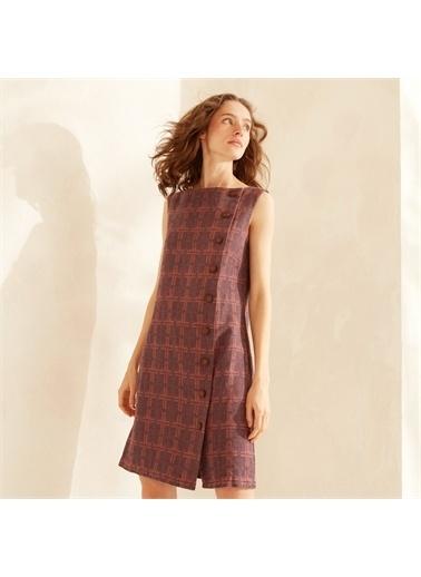 Yargıcı Kayık Yakalı Elbise Lacivert